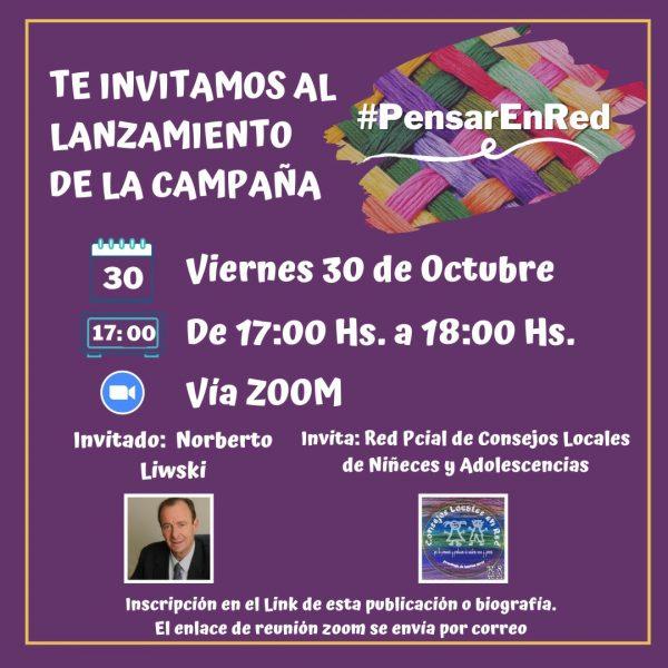 """Hoy 30/10 17 hs: Lanzamiento """"Pensar en Red"""": Mesa de Niñez y Adolescencia San Fernando"""