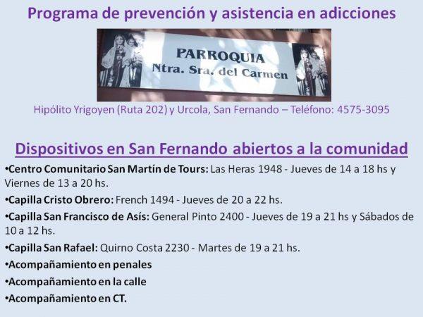 Programa de prevención y asistencia en adicciones - Parroquia Nuestra Señora del Carmen